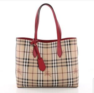 💯 Auth Burberry Reversible Red Tote Bag Brand New